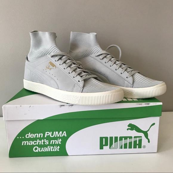 f07224b41ba8 Puma Clyde men knit sock gray leather sneaker 10